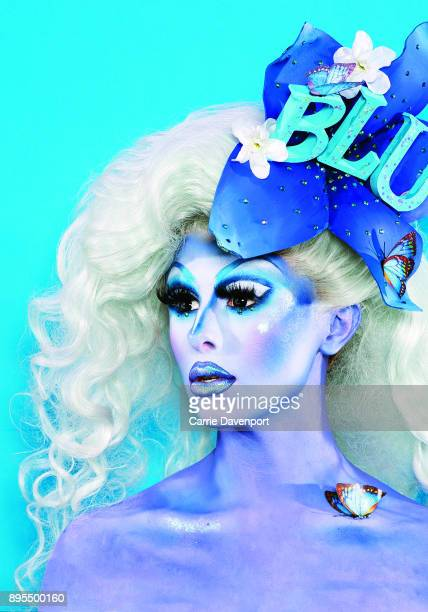 Joshua Cargill aka Blu Hydrangea is photographed as part 'Visage' a collaborative exhibition with designer Aaron Eakin and carpenter Gareth Martin on...