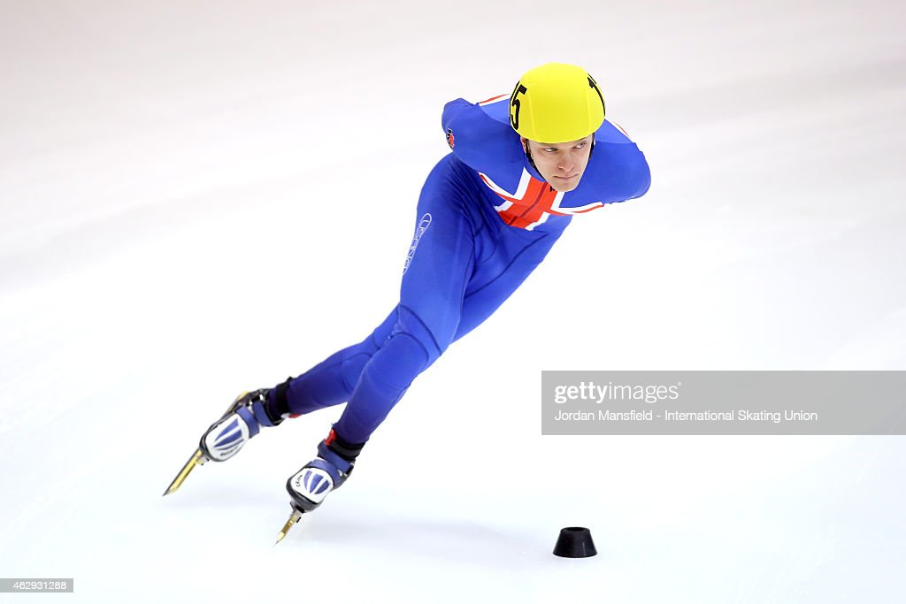 Joshua Cheetham of Great Britain competes in the Men's 1500m semi-final race on day 1 of the ISU World Cup Short Track Speed Skating on February 7, 2015 in Dresden, Germany.