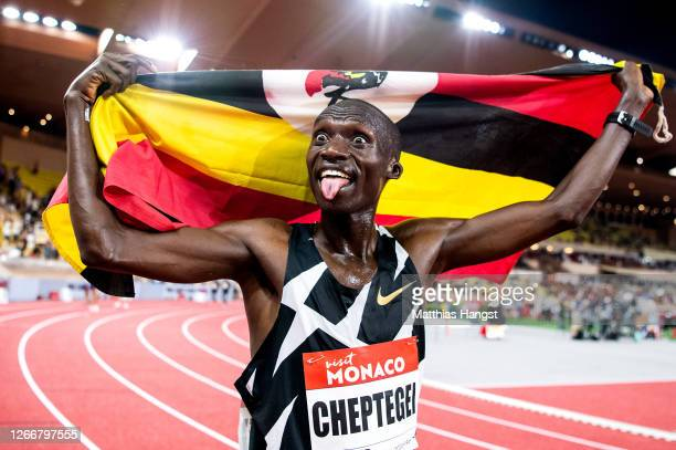 Joshua Cheptegei of Uganda celebrates victory in the Men's 5000 metres during the Herculis EBS Monaco 2020 Diamond League meeting at Stade Louis II...