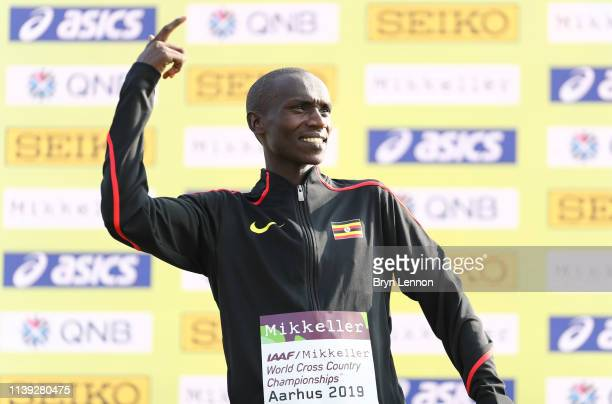 Joshua Cheptegei of Uganda celebrates winning the Men's Senior Final during the IAAF World Athletics Cross Country Championships on March 30 2019 in...