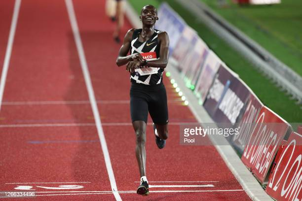 Joshua Cheptegei of Uganda crosses the finish line to win the Men's 5000 metres during the Herculis EBS Monaco 2020 Diamond League meeting at Stade...