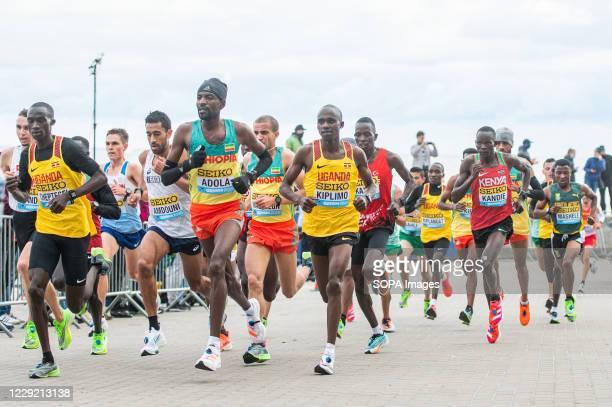 Joshua Cheptegei of Uganda Guye Idemo Adola of Ethiopia Jacob Kiplimo of Uganda Kibiwott Kandie of Kenya in action during 2020 IAAF World Half...