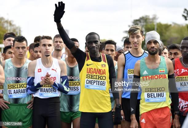 Joshua Cheptegei of Uganda reacts as he waits at the start before the Men's Final run during the World Athletics Half Marathon Championships on...