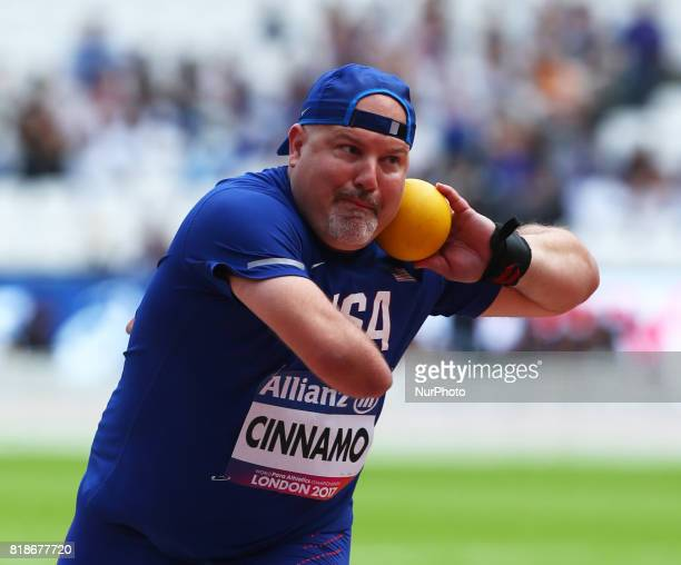 Joshua Cinnamo of USA compete in Men's Shoot Put T46 Finalduring IPC World Para Athletics Championships at London Stadium in London on July 18 2017