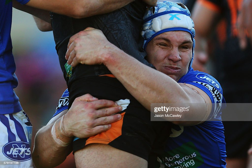 Joshua Cleeland of the Newtown Jets tackles during the round 19 Intrust Super Premiership NSW match between the Wests Tigers and the Newtown Jets at Leichhardt Oval on July 23, 2016 in Sydney, Australia.