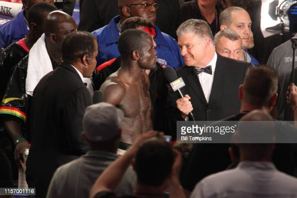 June 13: Joshua Clottey gives an interview after his loss by Split Decision to Miguel Cotto in their WBO Welterweight Championship fight at Madison...