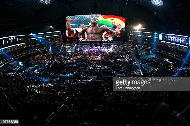 Joshua Clottey of Ghana in the ring before taking on Manny Pacquiao of the Philippines during the WBO welterweight title fight at Cowboys Stadium on...