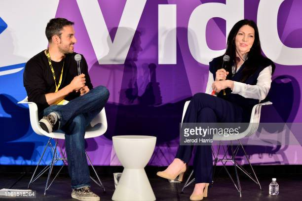 Joshua Cohen and Laura Prepon attend 2019 VidCon at Anaheim Convention Center on July 11 2019 in Anaheim California