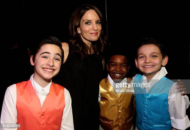 Joshua Colley Tina Fey Douglas Baldeo and Luca Padovan pose at the MCC Theater Company's Miscast 2016 Gala at The Hammerstein Ballroom on April 4...