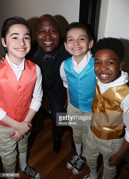 Joshua Colley Titus Burgess Luca Padovan and Douglas Baldeo pose at the MCC Theater Company's Miscast 2016 Gala at The Hammerstein Ballroom on April...