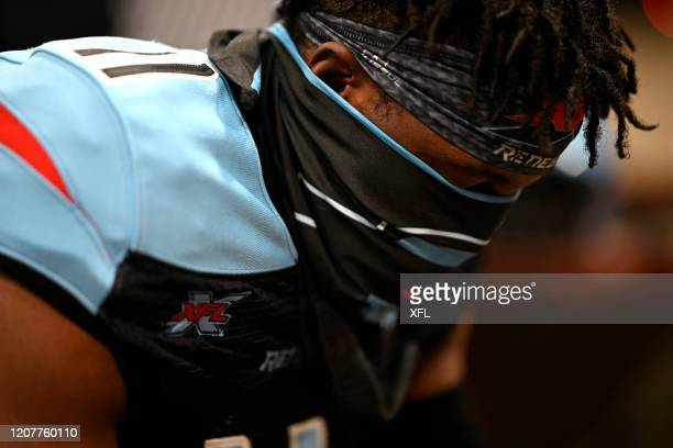 Joshua Crockett of the Dallas Renegades focuses before the XFL game against the St. Louis BattleHawks at Globe Life Park on February 9, 2020 in...