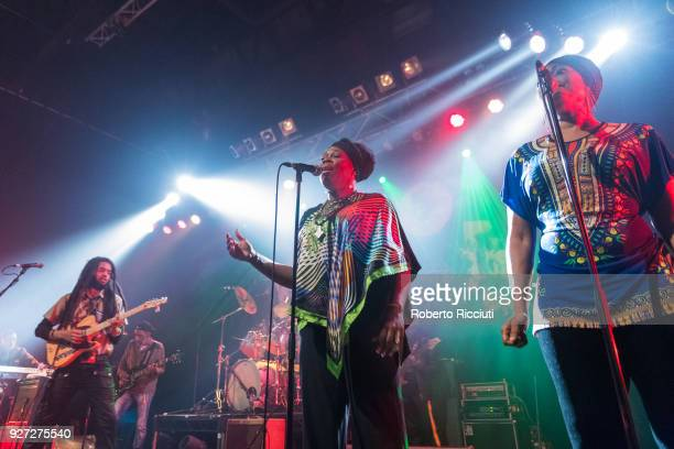 Joshua David Barrett Shema McGregor and Hassanah of The Wailers perform on stage at O2 ABC Glasgow on March 4 2018 in Glasgow Scotland