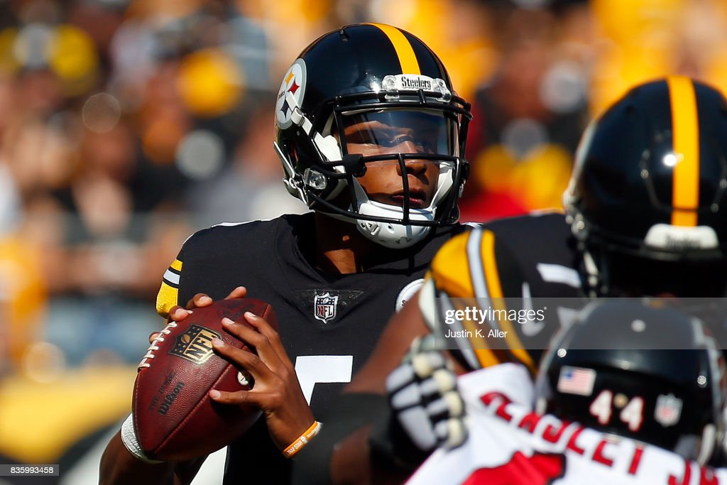 Joshua Dobbs #5 of the Pittsburgh Steelers drops back to pass against the Atlanta Falcons during a preseason game at Heinz Field on August 20, 2017 in Pittsburgh, Pennsylvania.