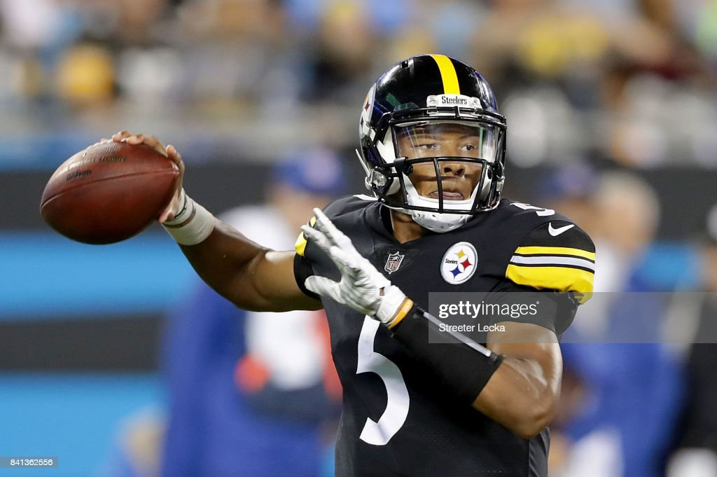 Joshua Dobbs #5 of the Pittsburgh Steelers drops back to pass against the Carolina Panthers during their game at Bank of America Stadium on August 31, 2017 in Charlotte, North Carolina.