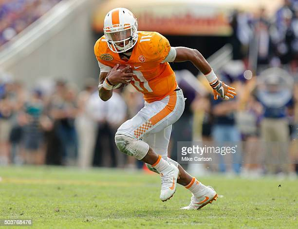 Joshua Dobbs of the Tennessee Volunteers against the Northwestern Wildcats during the Outback Bowl at Raymond James Stadium on January 1 2016 in...