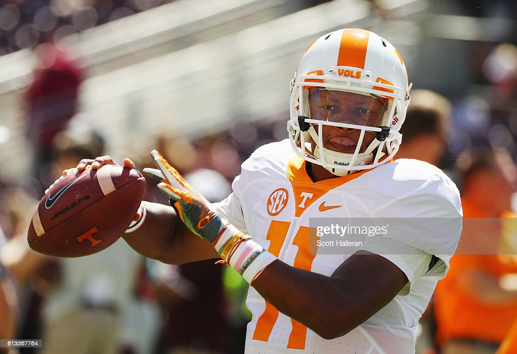 Joshua Dobbs of the Tennessee Volunteers works out on the field prior to the start of their game against the Texas A&M Aggies at Kyle Field on October 8, 2016 in College Station, Texas.