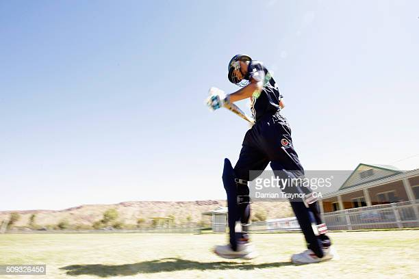 Joshua Eaton of Victoria walks out to bat against South Australia during day 3 of the National Indigenous Cricket Championships on February 10 2016...