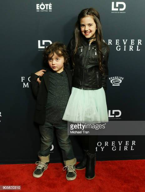 Joshua Fortson and Abby Ryder Fortson arrive to the Los Angeles premiere of Roadside Attractions' 'Forever My Girl' held at The London on January 16...