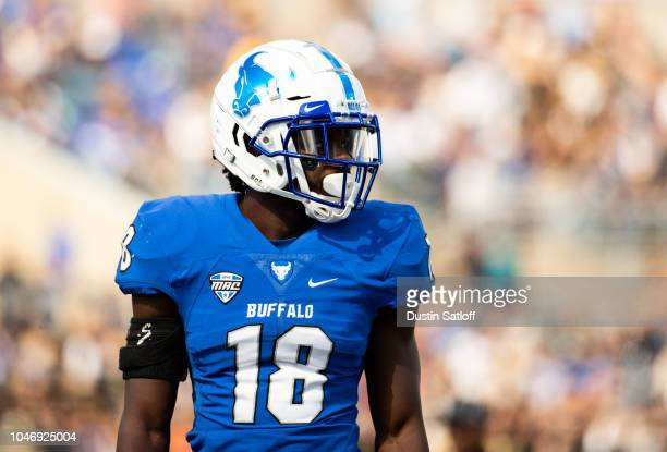 Joshua Gaddy of the Buffalo Bulls during a game against the Army Black Knights at University at Buffalo Stadium on September 29, 2018 in Amherst, New...
