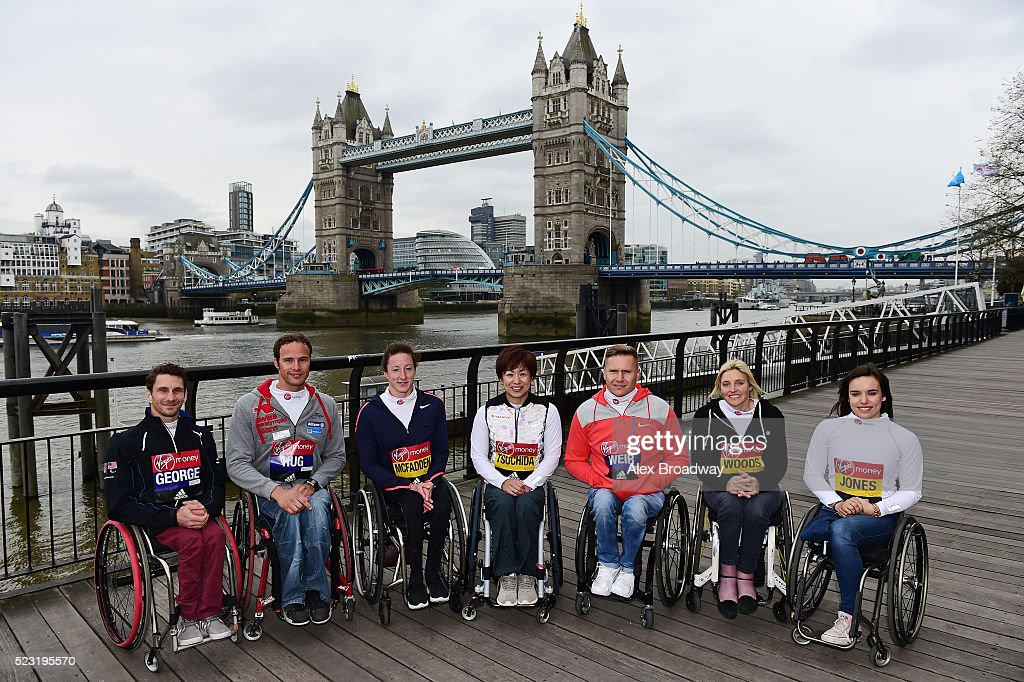 Joshua George of The USA, Marcel Hug of Switzerland, Tatyana McFadden of The USA, Wakako Tsuchida of Japan, David Weir of Great Britain, Shelly Woods of Great Britain and Jade Jones of Great Britain attend a photocall ahead of the Virgin Money London Marathon at The Tower Hotel on April 22, 2016 in London, England.