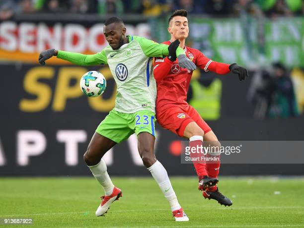 Joshua Guilavogui of Wolfsburg fights for the ball with Erik Thommy of Stuttgart during the Bundesliga match between VfL Wolfsburg and VfB Stuttgart...