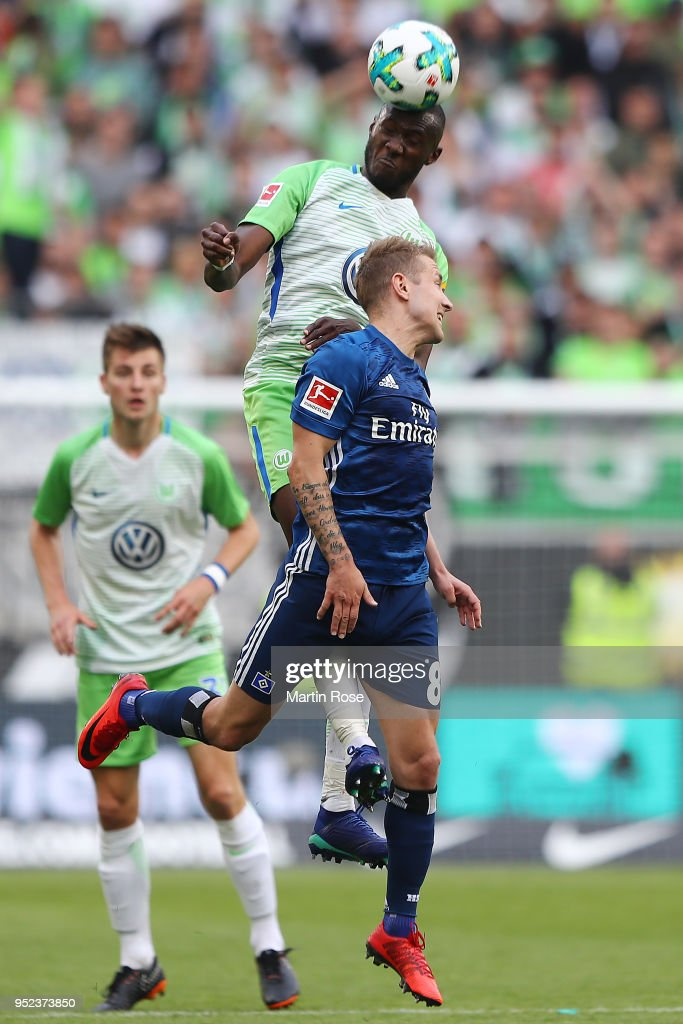 Joshua Guilavogui Of Wolfsburg Fights For The Ball With Lewis Holtby News Photo Getty Images