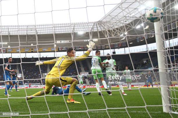 Joshua Guilavogui of Wolfsburg scores and own goal to make it 30 during the Bundesliga match between TSG 1899 Hoffenheim and VfL Wolfsburg at Wirsol...
