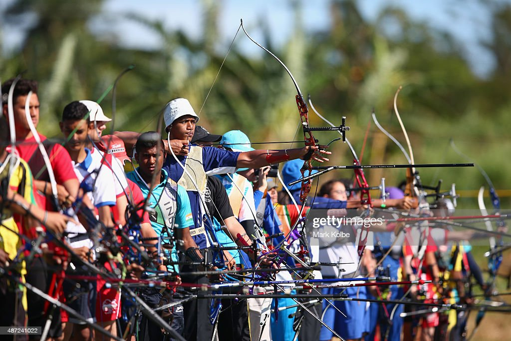 Joshua Hans Walter of Samoa competes in the archery qualification round at the Tuanaimato Sports Facility on day two of the Samoa 2015 Commonwealth Youth Games on September 8, 2015 in Apia, Samoa.