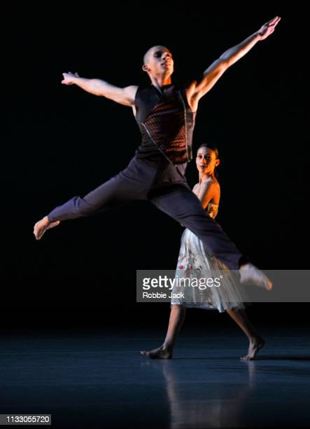 Joshua Harriette and Ellen Yilma in Richard Alston's Brahms Hungarian at Sadlers Wells Theatre on February 27, 2019 in London, England.