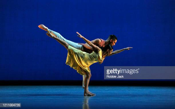 Joshua Harriette and Ellen Yilma in The Richard Alston Dance Company's production of Richard Alston's Voices And Light Footsteps at Sadler's Wells...