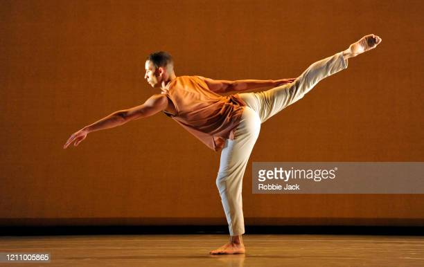 Joshua Harriette in The Richard Alston Dance Company's production of Richard Alston's Voices And Light Footsteps at Sadler's Wells Theatre on March...
