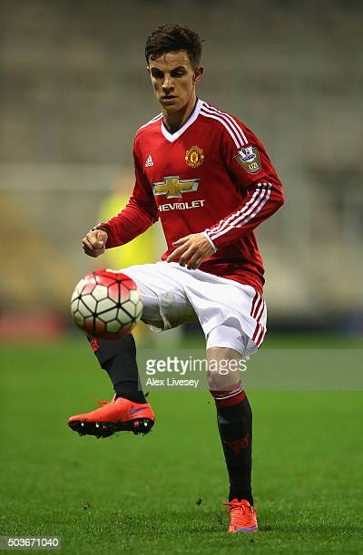 Joshua Harrop of Manchester United U21 during the Barclays U21 Premier League match between Manchester United U21 and Tottenham Hotspur U21 at Leigh...