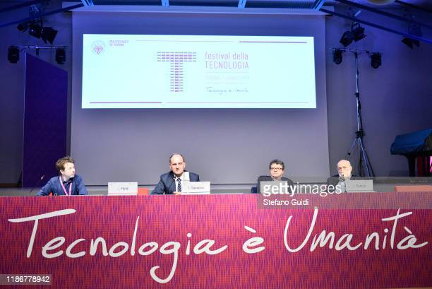 Joshua Held Guido Saracco rector of Politecnico di Torino Marco Trabucco and Carlo Petrini attend Festival della Tecnologia on November 10 2019 in...