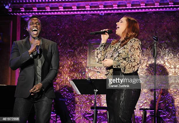 Joshua Henry and Alysha Umphress perform during the 54 Below Press Preview at 54 Below on January 22 2015 in New York City