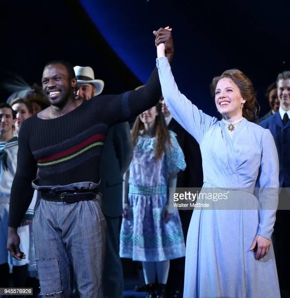 Joshua Henry and Jessie Mueller during the Opening Night Curtain Call for 'Carousel' at the Imperial Theatre on April 12 2018 in New York City