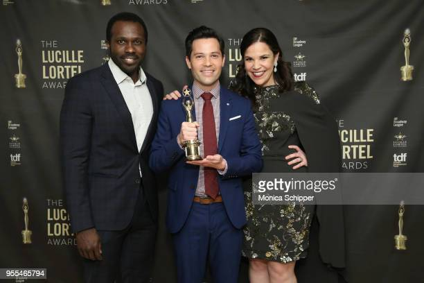 Joshua Henry Jason Tam and Lindsay Mendez pose backstage at the 33rd Annual Lucille Lortel Awards on May 6 2018 in New York City