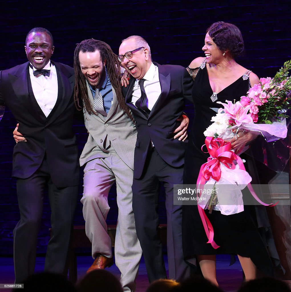 Joshua Henry, Savion Glover, George C. Wolfe and Audra McDonald during the Broadway Opening Night Curtain Call for 'Shuffle Along' at The Music Box Theatre on April 28, 2016 in New York City.