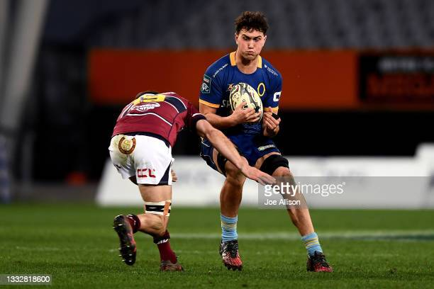 Joshua Hill of Otago runs into the defence during the round one Bunnings NPC match between Otago and Southland at Forsyth Barr Stadium, on August 07...