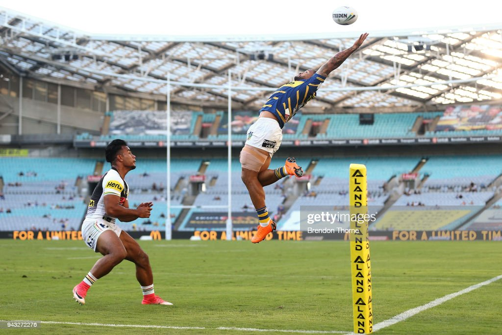Joshua Hoffman of the Eels attempts to catch a kick during the round five NRL match between the Parramatta Eels and the Penrith Panthers at ANZ Stadium on April 8, 2018 in Sydney, Australia.