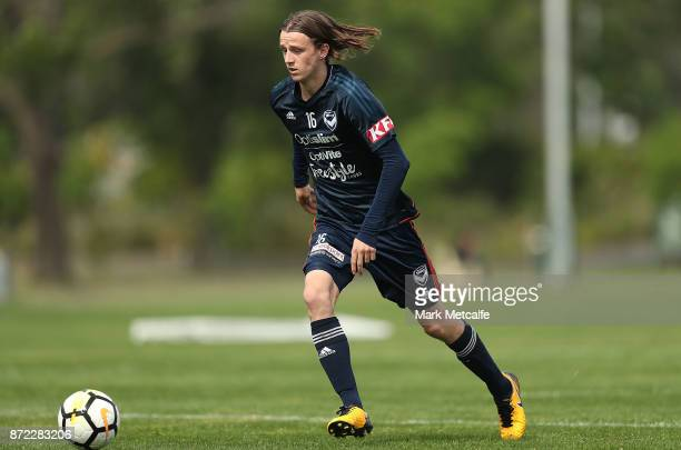 Joshua Hope controls the ball during a Melbourne Victory ALeague training session at Gosch's Paddock on November 10 2017 in Melbourne Australia