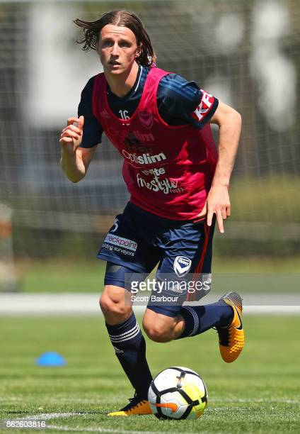 Joshua Hope of the Victory controls the ball during a Melbourne Victory ALeague training session at Gosch's Paddock on October 18 2017 in Melbourne...
