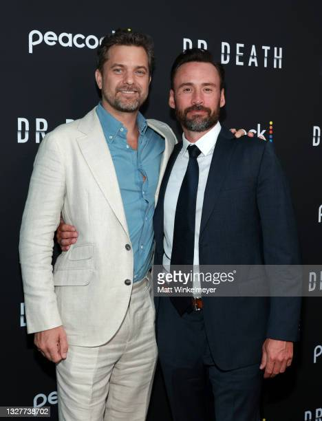"""Joshua Jackson and Patrick Macmanus attends the pre-screening reception for the premiere of Peacock's new series """"Dr. Death"""" at NeueHouse Los Angeles..."""
