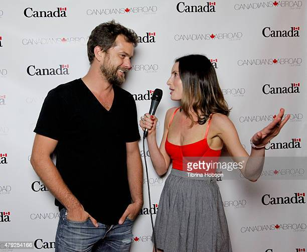 Joshua Jackson and Samantha Gutstadt attend the Canada Day in LA party at on July 1 2015 in Santa Monica California