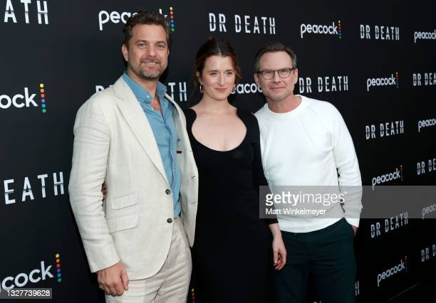 """Joshua Jackson, Grace Gummer and Christian Slater attend the pre-screening reception for the premiere of Peacock's new series """"Dr. Death"""" at..."""