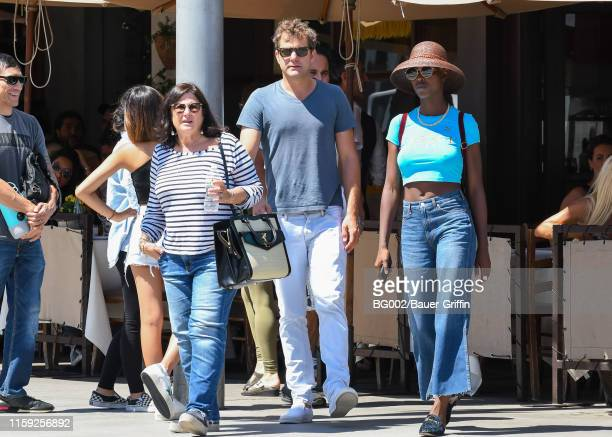 Joshua Jackson his mother Fiona Jackson and his girlfriend Jodie TurnerSmith are seen on August 02 2019 in Los Angeles California