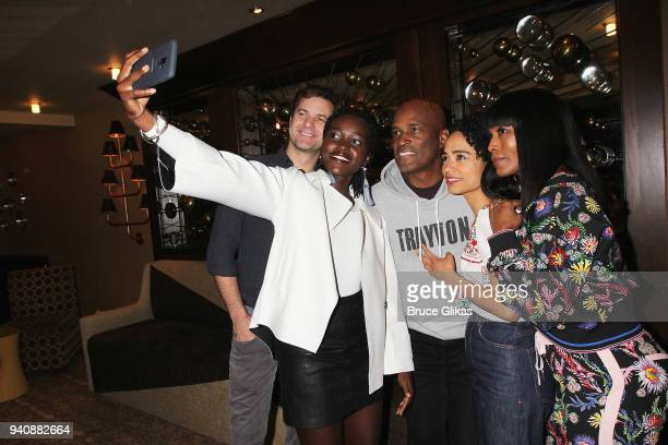"Joshua Jackson, Lupita Nyong'o, Kenny Leon, Angela Bassett and Lauren Ridloff take a selfie backstage at the new revival of the play ""Children of a..."