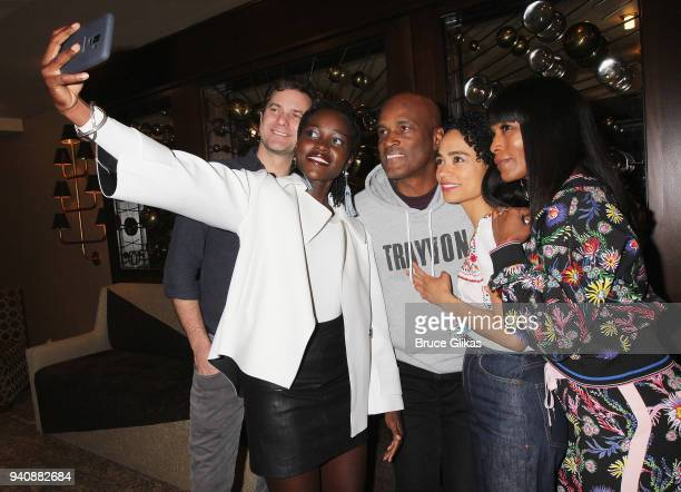 Joshua Jackson Lupita Nyong'o Kenny Leon Angela Bassett and Lauren Ridloff take a selfie backstage at the new revival of the play 'Children of a...