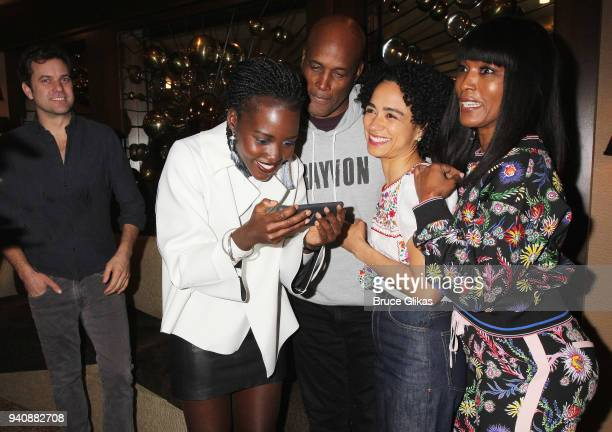 "Joshua Jackson, Lupita Nyong'o, Kenny Leon, Angela Bassett and Lauren Ridloff backstage at the new revival of the play ""Children of a Lesser God"" on..."