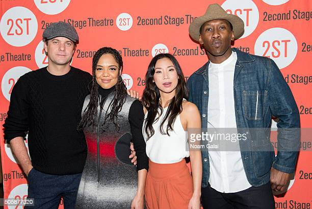 Joshua Jackson Tessa Thompson Anne Son and Mahershala Ali attend the 'Smart People' photo call at Second Stage Theatre on January 20 2016 in New York...