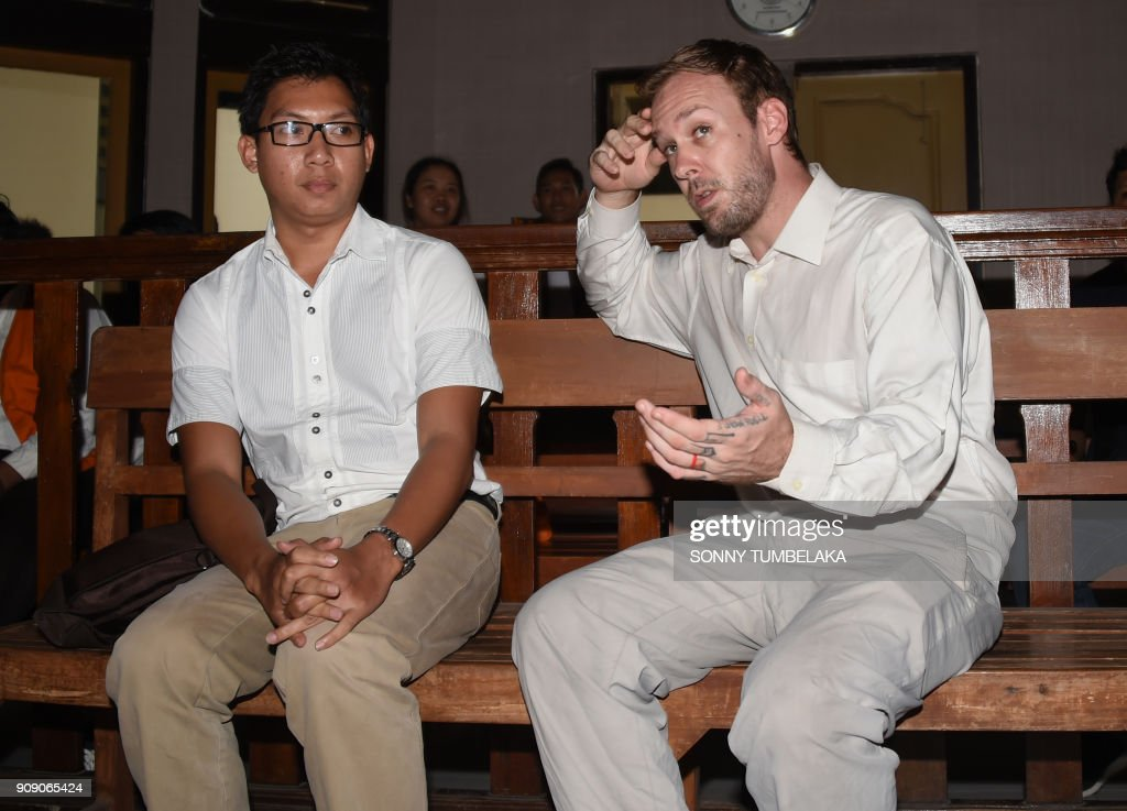 Australian Joshua James Baker attends court on drugs charges in Bali